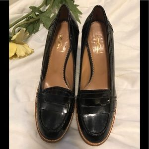 Yves Saint Laurent wedge penny loafers